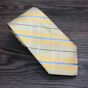 Tommy Hilfiger NWT Yellow Plaid Silk Tie